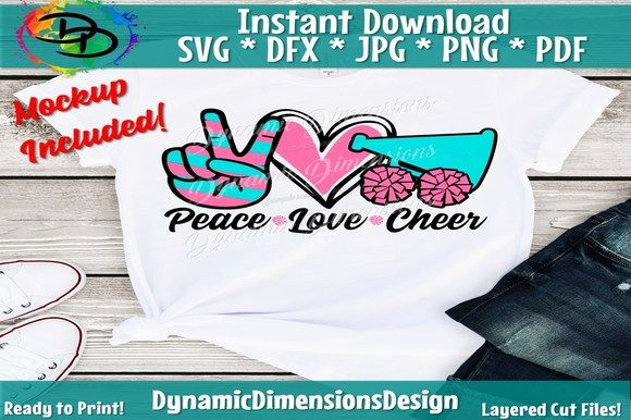 Print on Demand: Peace Love Cheer Gráfico Crafts Por dynamicdimensions