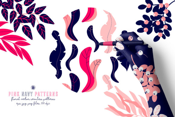 Download Free Pink Navy Vector Patterns Graphic By Webvilla Creative Fabrica for Cricut Explore, Silhouette and other cutting machines.