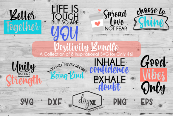 Download Free Positivity Bundle Graphic By Sheryl Holst Creative Fabrica for Cricut Explore, Silhouette and other cutting machines.