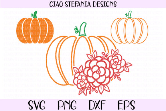 Download Free Pumpkin Floral Fall Bundle Graphic By Ciaostefaniadigital for Cricut Explore, Silhouette and other cutting machines.