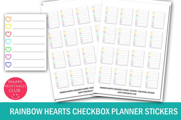 Print on Demand: Rainbow Hearts Checkbox Planner Stickers Graphic Crafts By Happy Printables Club