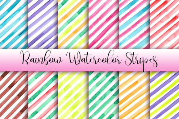 Rainbow Watercolor Stripes Background Graphic Backgrounds By PinkPearly