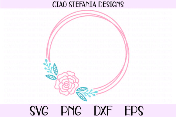 Rose Flower Geometric Circle Frame Graphic Crafts By ciaostefaniadigital