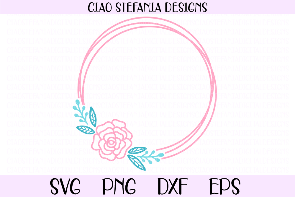 Rose Flower Geometric Circle Frame Graphic By