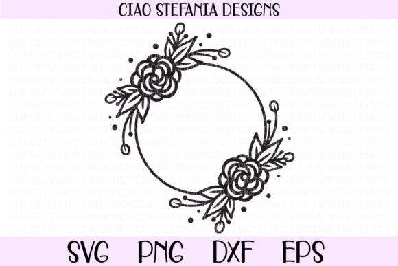 Roses Wreath Flowers Circle Frame Graphic By Ciaostefaniadigital