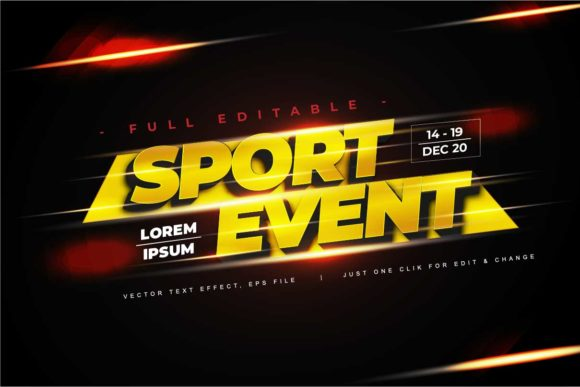 Print on Demand: Sport Text Effect Editable Vector Graphic Add-ons By twinletter