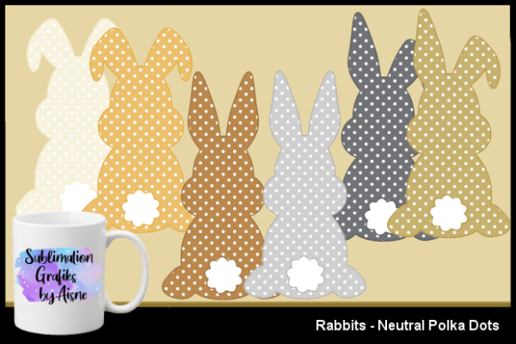 Print on Demand: Sublimation Rabbits - Neutral Polka Dots Graphic Illustrations By Aisne