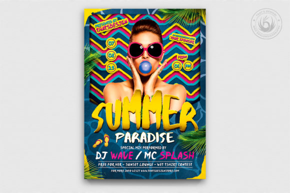 Summer Paradise Flyer Template Graphic Print Templates By ThatsDesignStore