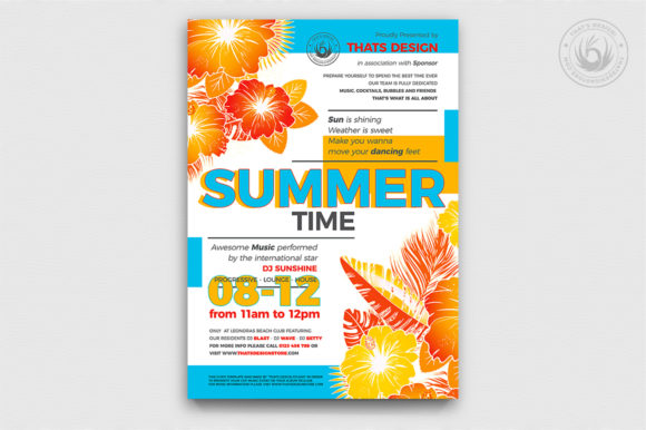 Download Free Summertime Flyer Template V2 Graphic By Thatsdesignstore for Cricut Explore, Silhouette and other cutting machines.