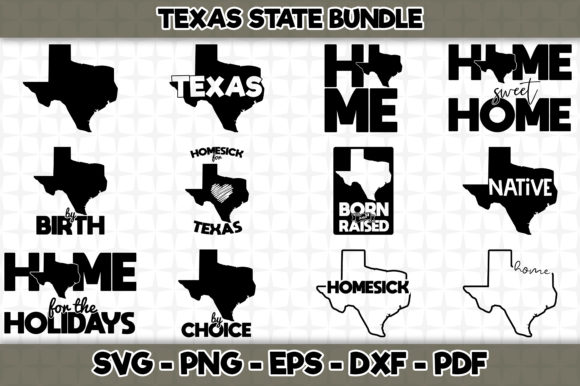 Print on Demand: Texas State Bundle - 12 Designs Graphic Crafts By SVGExpress