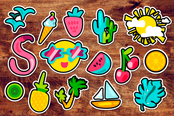 Print on Demand: Tropical Summer Stickers Set Graphic Objects By barsrsind