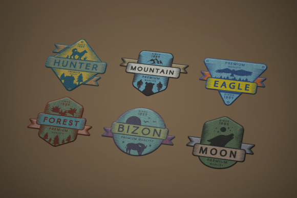 Print on Demand: Vintage Colored Adventure Badges Set Graphic Logos By barsrsind