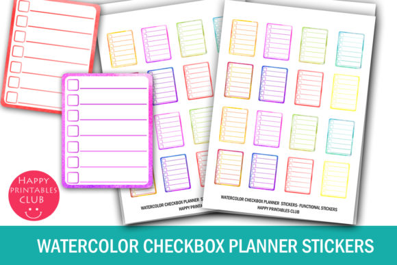 Print on Demand: Watercolor Checkbox Planner Stickers Graphic Crafts By Happy Printables Club