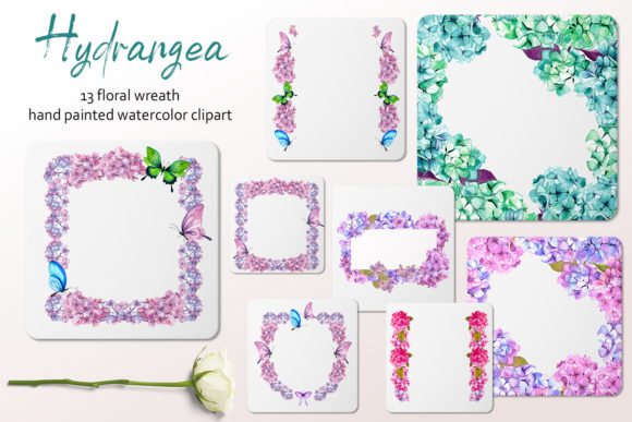 Watercolor Frames with Hydrangea Flowers Graphic Illustrations By ElenaZlataArt