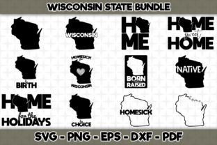 Print on Demand: Wisconsin State Bundle - 12 Designs Graphic Crafts By SVGExpress