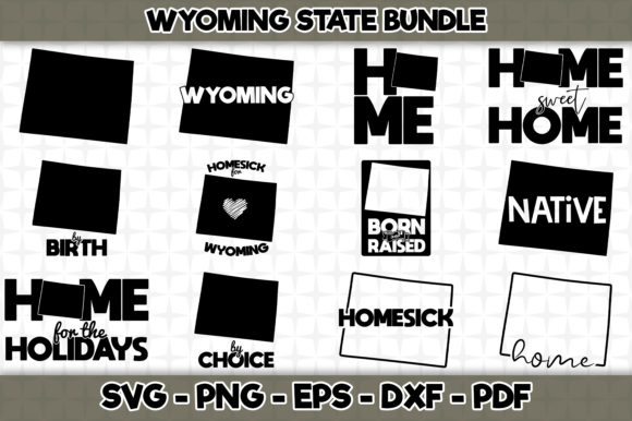 Print on Demand: Wyoming State Bundle - 12 Designs Graphic Crafts By SVGExpress