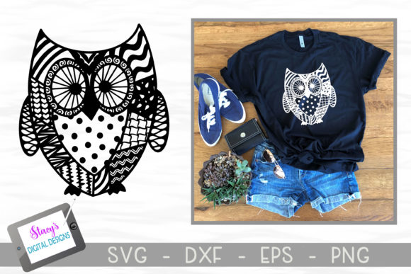 Download Free Zentangle Owl Design Graphic By Stacysdigitaldesigns Creative for Cricut Explore, Silhouette and other cutting machines.