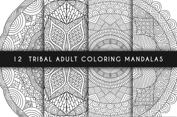 12 Tribal Adult Coloring Mandalas Graphic Coloring Pages & Books Adults By Juliya Kochkanyan