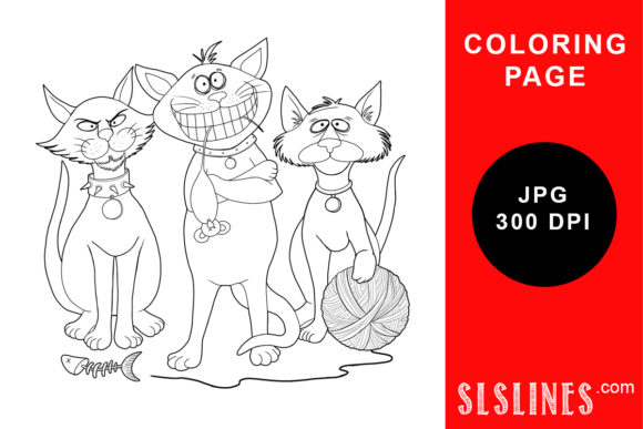 Print on Demand: A Cool Cat Trio Coloring Page Graphic Coloring Pages & Books Adults By SLS Lines
