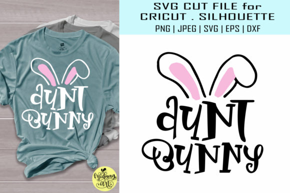 Download Free Aunt Bunny Easter Shirt Graphic By Midmagart Creative Fabrica for Cricut Explore, Silhouette and other cutting machines.