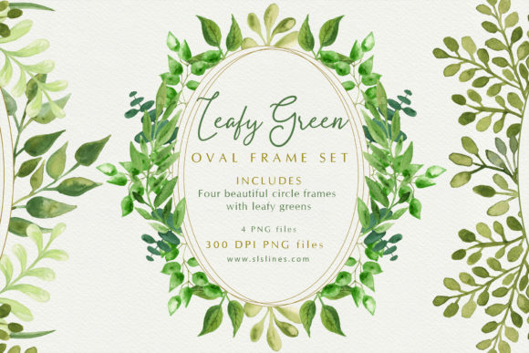 Print on Demand: Beautiful Oval Leafy Green Frames Graphic Illustrations By SLS Lines