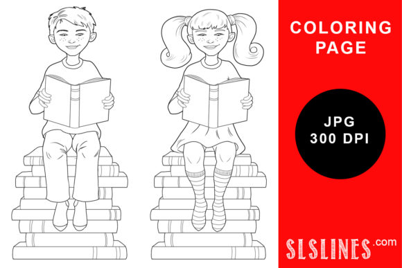 Print on Demand: Boy and Girl Book Readers Coloring Page Graphic Coloring Pages & Books Adults By SLS Lines