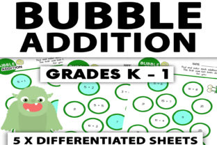 Bubble Addition Worksheet: Grades K - 1 Graphic 1st grade By Saving The Teachers