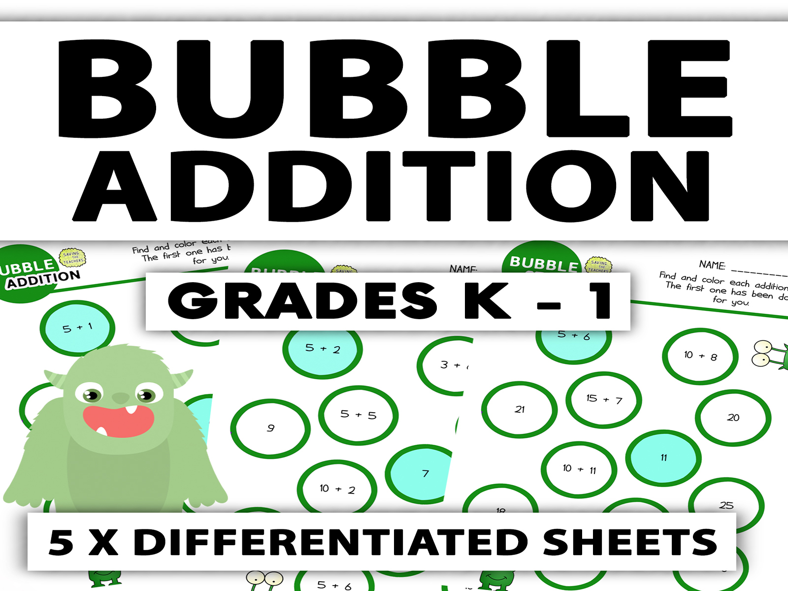 Download Free Bubble Addition Worksheet Grades K 1 Graphic By Saving The for Cricut Explore, Silhouette and other cutting machines.