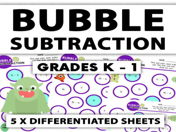 Bubble Subtraction Worksheets: K - 1 Graphic 1st grade By Saving The Teachers