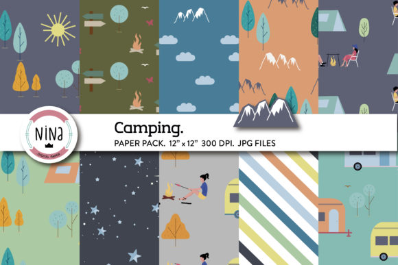 Camping Digital Paper, Happy Camper Graphic Patterns By Nina Prints
