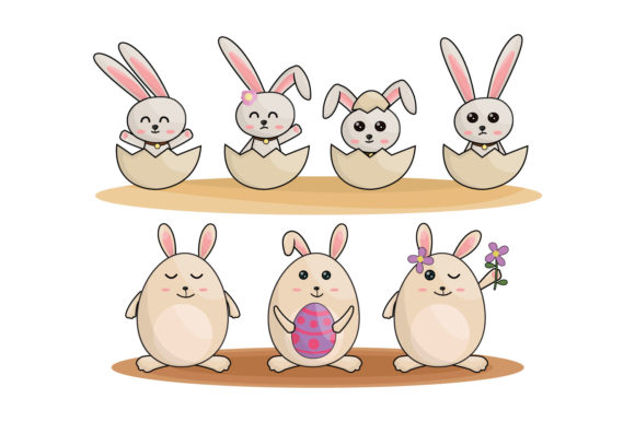 Download Free Cartoon Little Bunny Holding Easter Egg Graphic By Iop Micro for Cricut Explore, Silhouette and other cutting machines.