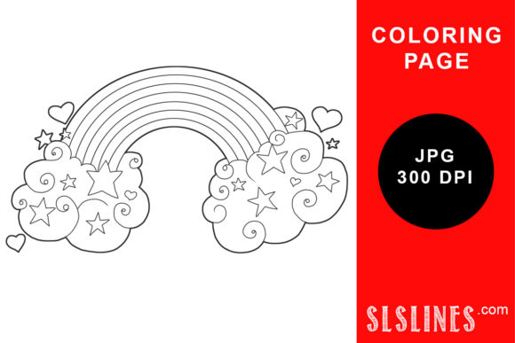 Print on Demand: Clours and Rainbow Coloring Page Graphic Coloring Pages & Books Adults By SLS Lines