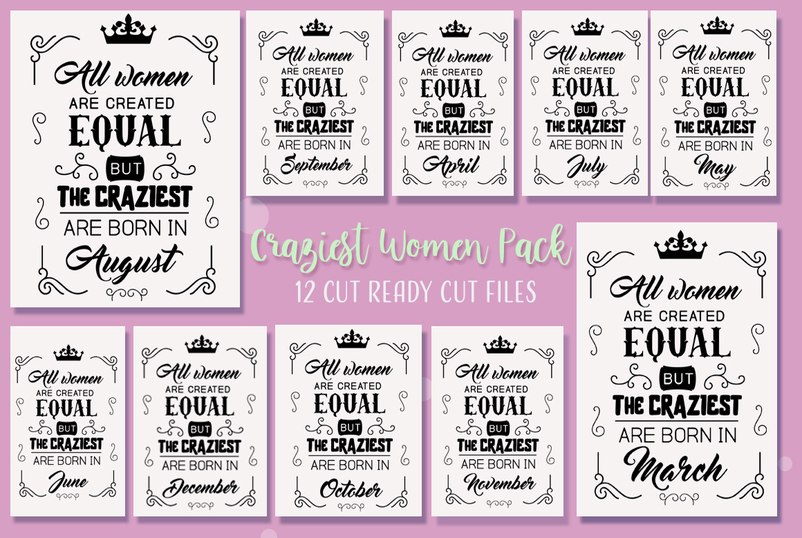 Download Free Craziest Women Cut Files Pack Graphic By Nerd Mama Cut Files for Cricut Explore, Silhouette and other cutting machines.