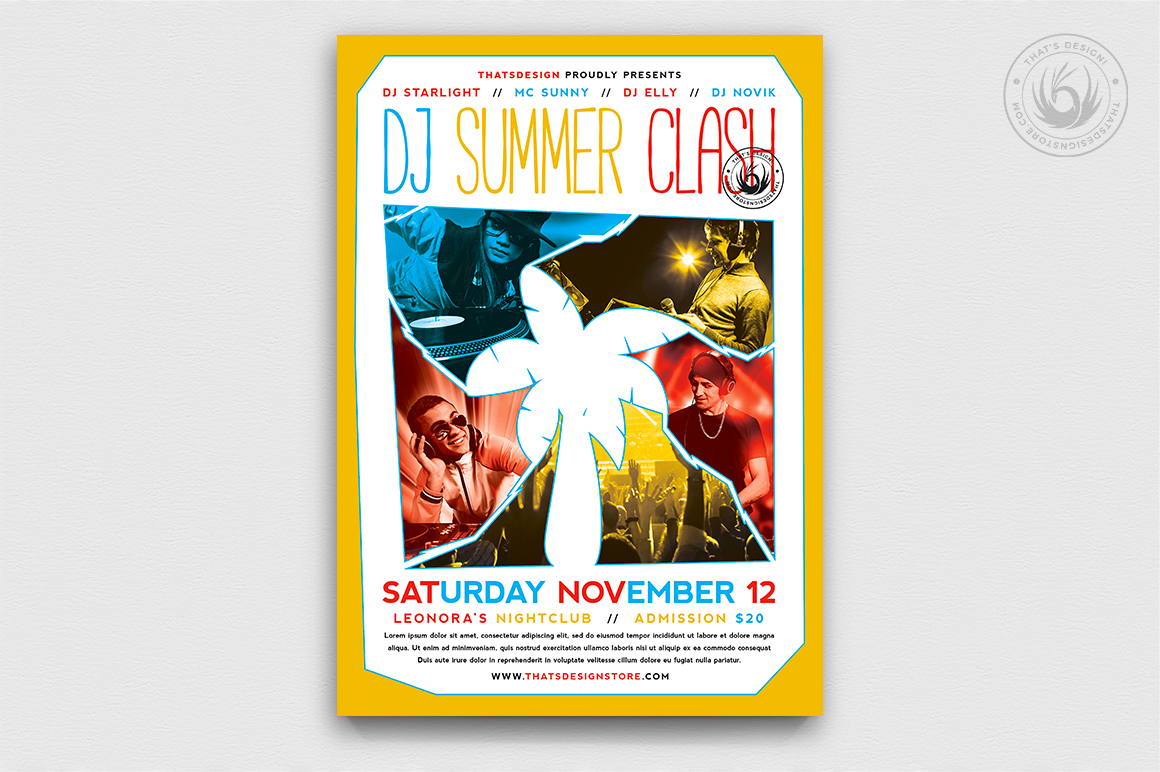 Download Free Dj Summer Clash Flyer Template Graphic By Thatsdesignstore for Cricut Explore, Silhouette and other cutting machines.