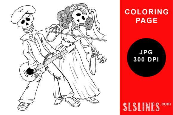 Print on Demand: Day of the Dead Band Coloring Page Graphic Coloring Pages & Books Adults By SLS Lines