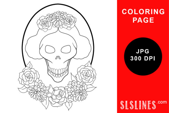 Print on Demand: Day of the Dead Beauty Skull Coloring Graphic Coloring Pages & Books Adults By SLS Lines - Image 1