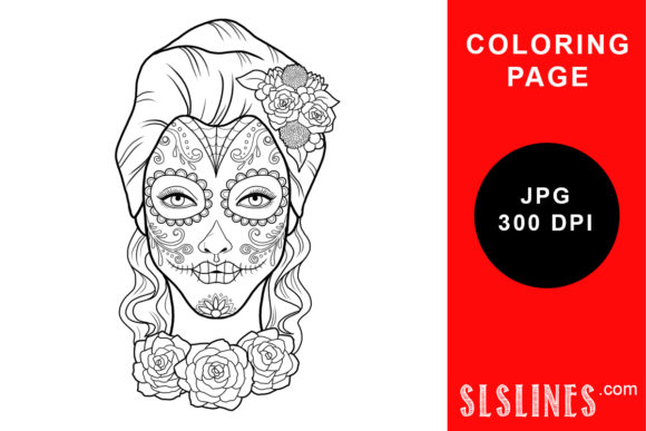 Print on Demand: Day of the Dead Calavera Coloring Page Graphic Coloring Pages & Books Adults By SLS Lines