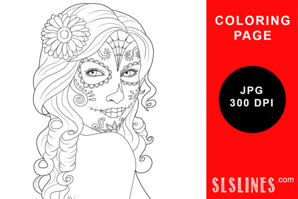 Print on Demand: Day of the Dead Calavera Coloring Page Graphic Coloring Pages & Books Adults By SLS Lines - Image 1