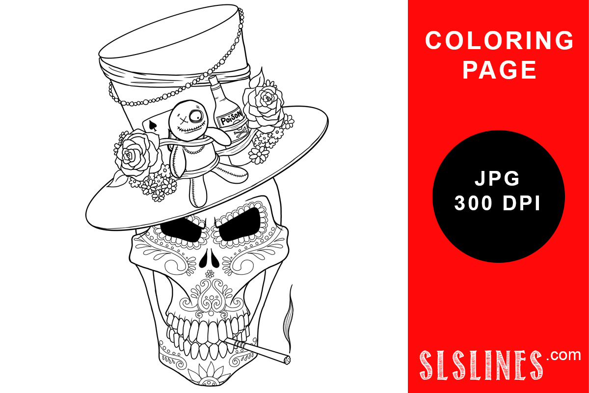 Download Free Day Of The Dead Voodoo Skull Coloring Graphic By Sls Lines for Cricut Explore, Silhouette and other cutting machines.