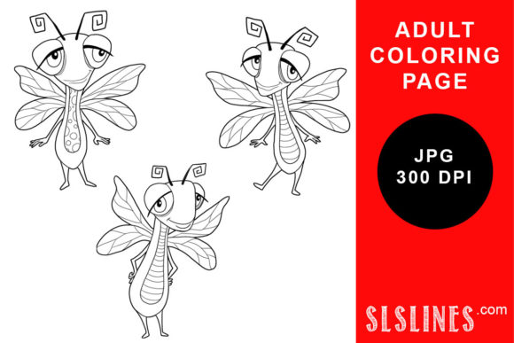 Print on Demand: Dragonfly Trio Coloring Page Graphic Coloring Pages & Books Adults By SLS Lines