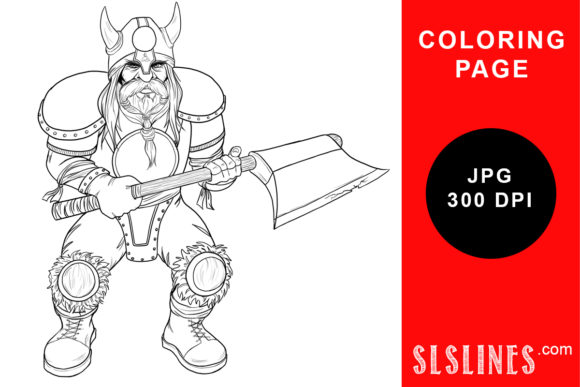 Print on Demand: Dwarf Axe Warrior Coloring Page Graphic Coloring Pages & Books Adults By SLS Lines