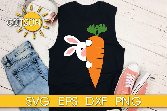 Download Free Easter Bunny With A Carrot Graphic By Cutsunsvg Creative Fabrica for Cricut Explore, Silhouette and other cutting machines.