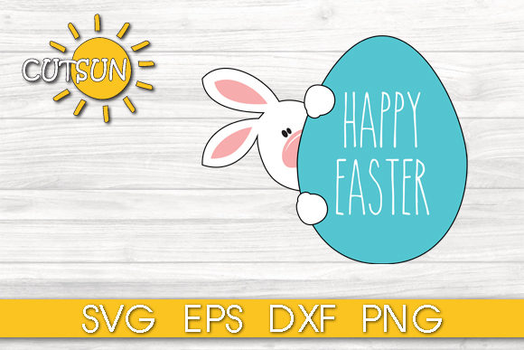 Easter Bunny With An Egg Cut File Graphic By Cutsunsvg