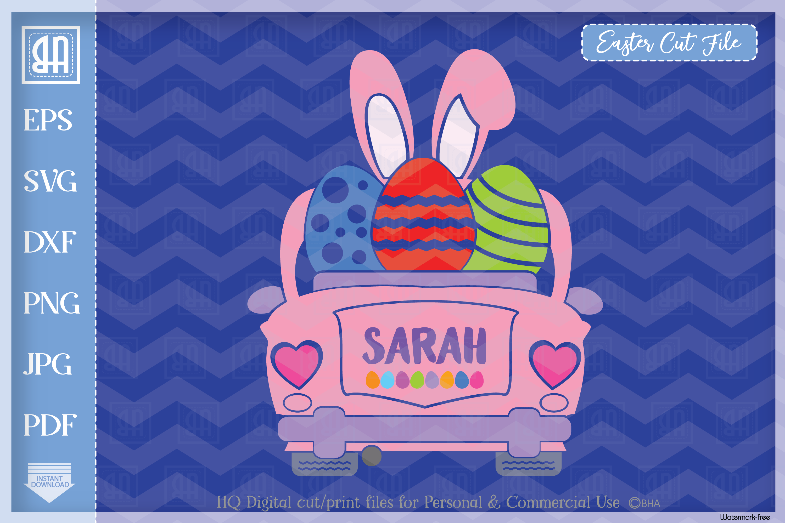 Download Free Easter Car Vintage Car Girls Graphic By Blueberry Hill Art for Cricut Explore, Silhouette and other cutting machines.