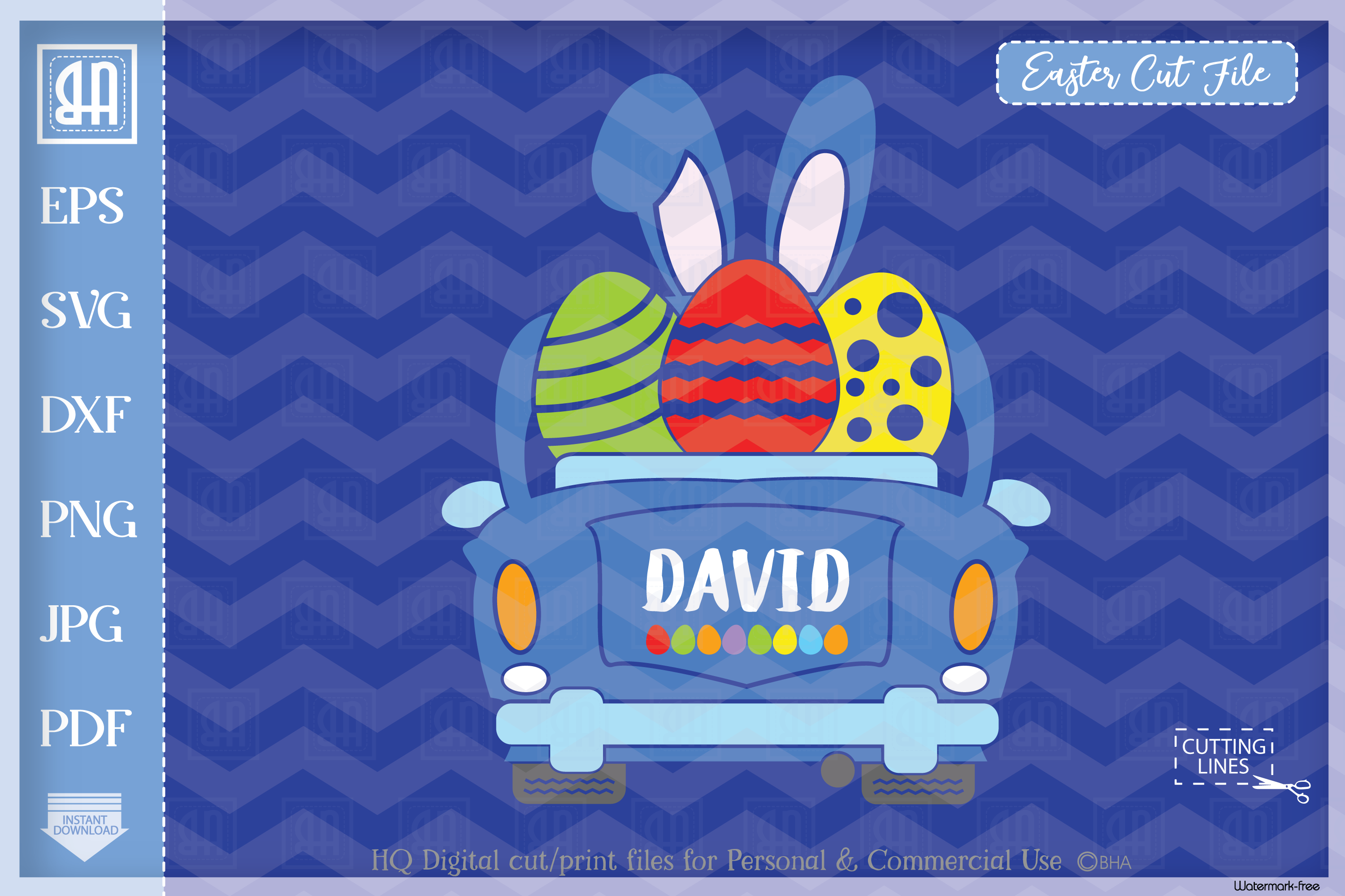 Download Free Easter Car Vintage Car Boy E Graphic By Blueberry Hill Art SVG Cut Files