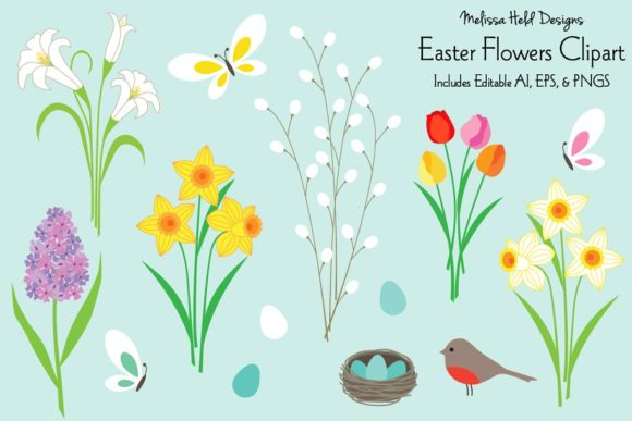 Download Free Easter Flowers Clipart Graphic By Melissa Held Designs for Cricut Explore, Silhouette and other cutting machines.
