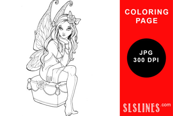 Print on Demand: Fairy on a Stool Coloring Page Graphic Coloring Pages & Books Adults By SLS Lines