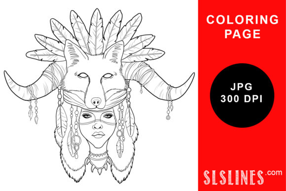 Print on Demand: Fantasy Fox Shaman Coloring Page Graphic Coloring Pages & Books Adults By SLS Lines