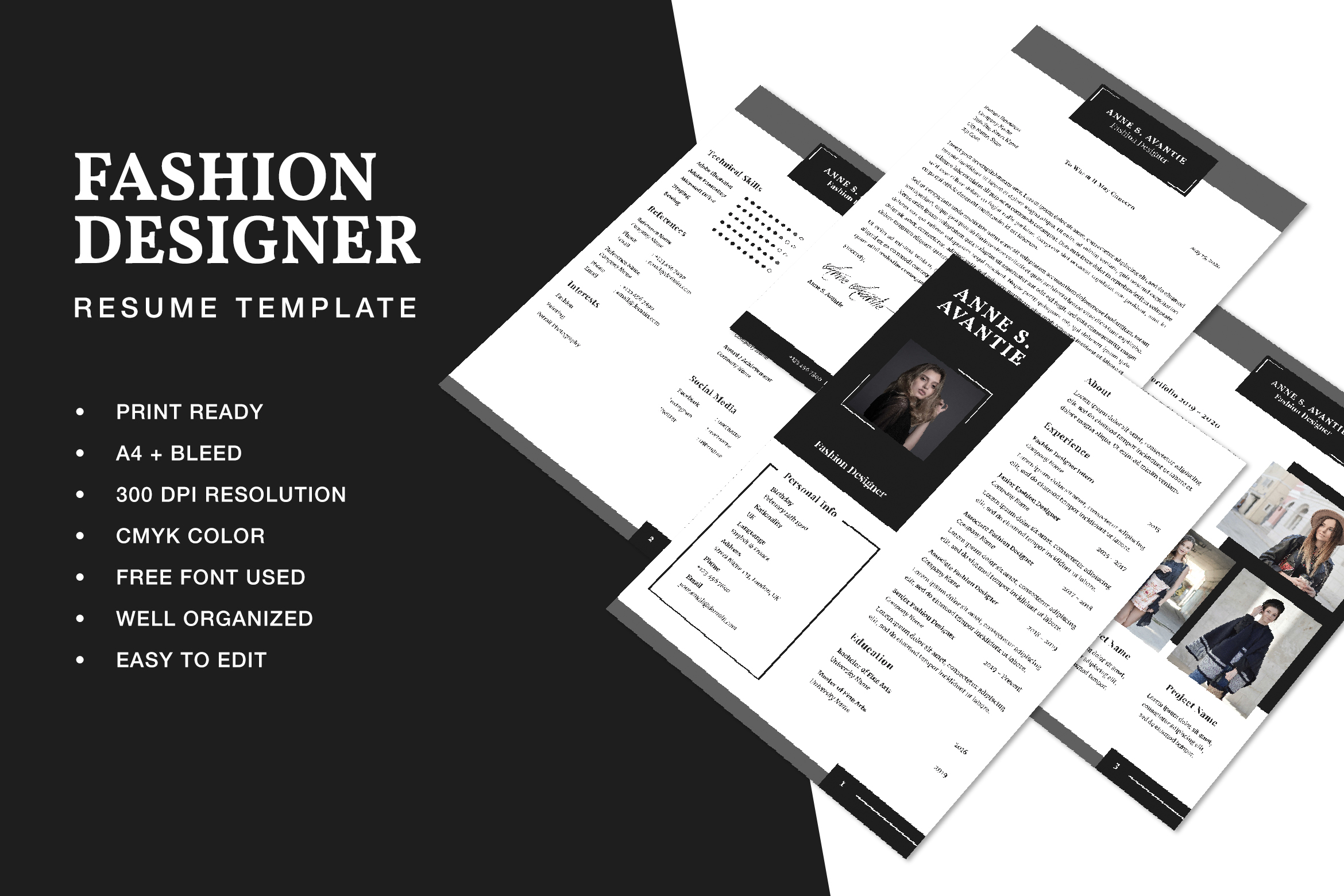 Fashion Designer Resume Cv Template Graphic By Formatikastd Creative Fabrica