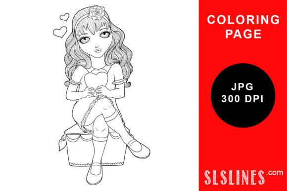 Print on Demand: Girl Holding a Heart Coloring Page Graphic Coloring Pages & Books Adults By SLS Lines